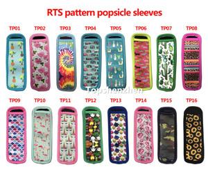16 Stil Desen Yeniden Kullanılabilir Popsicle Sahipleri Popsicle Çanta Dondurucu Buz Pop Kollu Antifreezing Buz Pop Tutucular Neopren Izole Kollu