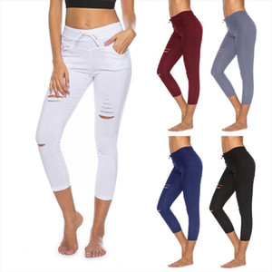 Skinny pant capri Women Sexy Holes Pencil sweapant Summer Female High Waist Casual Trouser Stretch Ripped Jean PlusSize