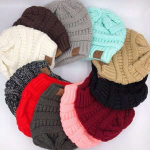 CC Knitted Hat Cap Beanie Hats Not Ponytail Winter Knitted Hat Colorful Knitted Crochet Twist Hats Bun Tail Soft Winter Knit Designer Style