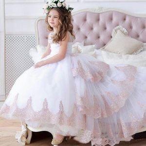 2021 NUEVA FLOR MUCHACHA VESTES BLASH RHUSH JUNIOR Girls Pageant Dress Lace Baby Girl Tulle Vestido de novia Tutu Kids Girls Pageant Bats