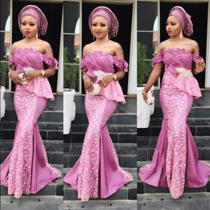 Aso Ebi Mermaid Prom Dresses Off Shoulder Lace Evening Gowns Pleats Appliques vestidos de fiesta African Women Party Dress