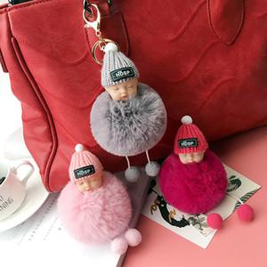 Cute Sleeping Baby Doll Keychain Pompom Rabbit Fur Ball Carabiner Key Chain Keyring Women Kids Key Holder bag Pendant Keyring Favor RRA2604