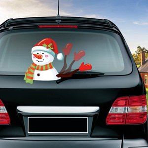 Santa Claus Car Stickers Snowman Car Decals Rear Window Wiper Christmas Rear Windshield Stickers For Cars Waterproof