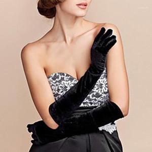 Пять пальцев перчатки старинные женщины полный палец лесаливая длинная вечерняя вечеринка бархатные оружия1