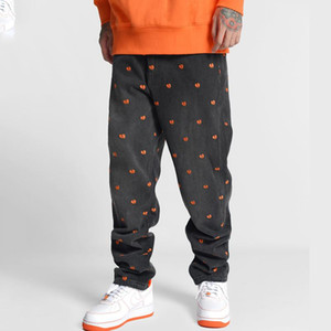 Men's Jeans Harajuku Style Denim Pants Man Streetwear Heart Print Full Length Baggy 2021 Casual Vintage Black For Men