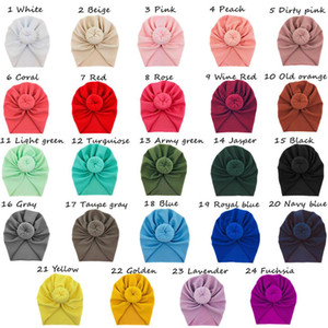 New Fashion Donut headbands Elastic Cotton Solid Colors Beanie Cap Hair accessories Multi color Baby Hats