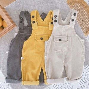 Halilo bebê menino macacão cor sólida outono inverno corduroy meninas macacão casual solto infantil crianças macacão calças 201207