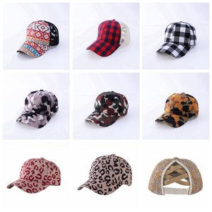 Unisex Buffalo Plaid Criss Cross Ponytail Cap Fashion Outdoor Baseball Cap Women Mens Backpack Adjustable Mesh Hat DDA833