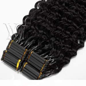 Afro Kinky Curly Straight Deep Water Yaki 4A 4B 4C Cuticle Aligned Remy Virgin 6D Pre Bonded Brazilian Indian Human Hair Extensions