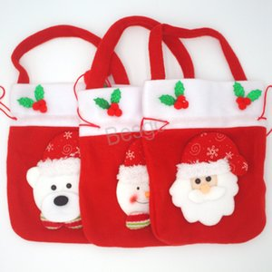 Xmas Decoration Kids Snowman Bear Candy Storage Bags Christmas Candy Gift Handbag Santa Claus Drawstring Gift Bags Festival Party BH1582 TQQ