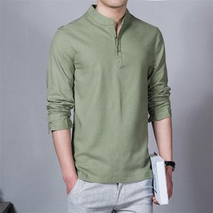 2020 New Men Spring Cotton Linen Kimono Shirt Long Sleeve Solid Leisure Chinese Clothes Casual Stand Collar Shirts