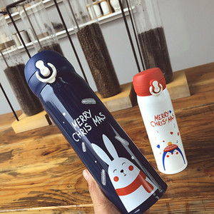 Christmas Vacuum Cup Water Bottles 500ml Insulated Double Wall Travel Water Stainless Steel Outdoor Water Bottles 30pcs T1I3013