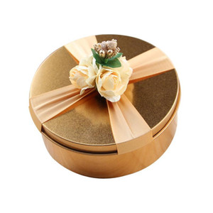 6pcs Tinplate Gold Candy Box Gift Storage Case For Wedding Birthday Party Tin Decoration Gift Box With Flower Decor
