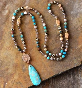 Long Natural Stones Crystals Druzy Teardrop Pendant Women Chain Bead Yoga Necklace Dropshipping