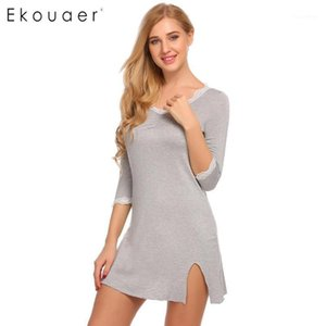 Ekouaer Nightkown Soft Coton Nightdress SleepShirts V-Col V € / 4 Dentelle Dentelle Garniture Femmes De Sleep Hearin Mini Noteaux Robe Homewear1