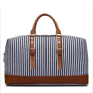 Navy Stripes Large size 55cm Canvas Duffel Bags Women Men Travel luggage Bag