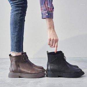 الأزياء الجدة النسائية الأحذية الكاحل قصيرة عارضة جولة تو منخفضة خمر الأحذية الصلبة سستة الترفيه الشتاء حجم كبير الأحذية 1
