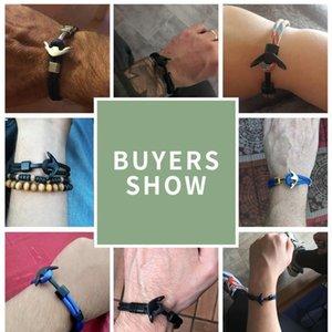 Âncora pulseira homens charme sobrevivência corda corrente braceletes paracord moda cor preta âncora pulseira macho envoltório macho spo qylzyn