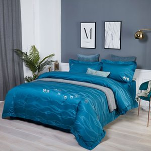 100% Cotton Factory direct 60s fashion jacquard long-staple cotton four-piece per set home textile embroidery bed linen villa hotel cotton