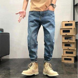 Hombres Straight Pierna Jeans Pantalones Botón Cintura Adolescente Casual Pantalones Elásticos Ropa Hip Hop Ancho Pierna Long Long Jeans