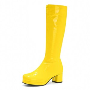 Candy Patent Leather Knee High Boots Women Yellow Pink Red Green Women's High Boots Block Heels Platform Long Shoes Ladies