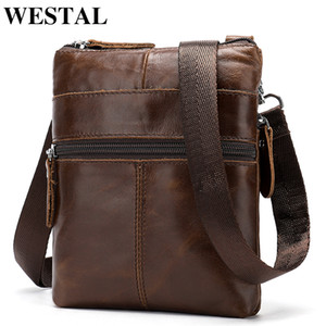 WESTAL laser Messenger Bag Men's shoulder Bags Genuine Leather Small Pouch Bags for Man phone Crossbody Bags Men Bag Leather 222