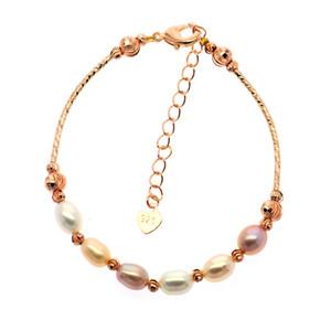 New Fashion 18k Gold, Silver Charm 6-8mm Freshwater Pearl Jewelry Bracelet