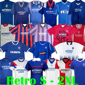 87 90 92 94 96 97 99 01 Glasgow Rangers Jerseys de fútbol retro Azul Away White Gascoigne Laudrup Soccer Shirts McCoist Kits de fútbol Uniformes