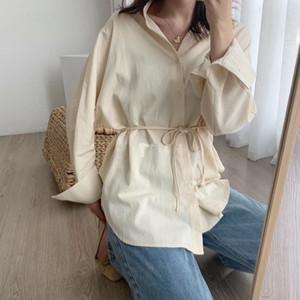Toppies white cotton linen tops blouses korean long sleeve khaki shirts drawstring waist oversized tops 2020 F1211