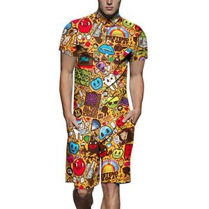 Mens Jumpsuits Pyjamas Fashion Pajamas Men's Sleepwear Short Sleeves Jumpsuit for Male Full Cartoon Printing Adult Onesie