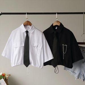 Vintage Bandage Short Blouse Women 2020 Summer Harajuku Shirt Tie Pin Patchwork Streetwear Female Shirt Tops