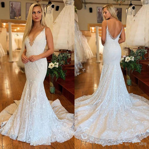 Modest Full Lace Mermaid Wedding Dresses Deep V-Neck Backless Arabic Country Bridal Gowns Sweep Train Robe De Mariee