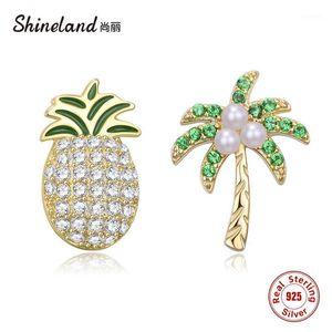 Shineland 100% 925 Sterling Silber Schmuck Mode asymmetrische Frucht Ananas Kokosnuss Bäume Perlen Ohrstecker für Mädchen Geschenk1
