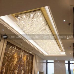 rectangle design long crystal ceiling chandelier lighting AC110V 220v LED crystal foyer lights,luxury hotel chandelier