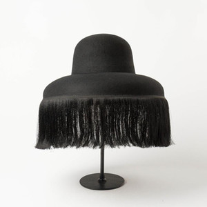 Fashion Black Hat Quality Autumn And Winter New Dome cap With Fringed Fedora Hat Retro Personality Bucket Custom Style