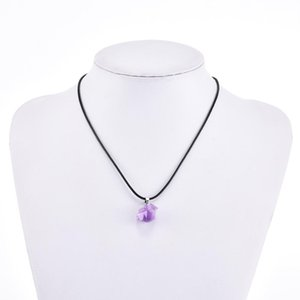 Natural Rhinestone Purple Stone Pendant Necklace For Women Rope Chain Fashion Jewelry Statement Accessories Initial Pendant Gift sqczjt