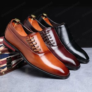Luxury Men Large Sizes Dress Shoes Mens Business Office Shoes Elegant Handmade Brown Red Black Shoes