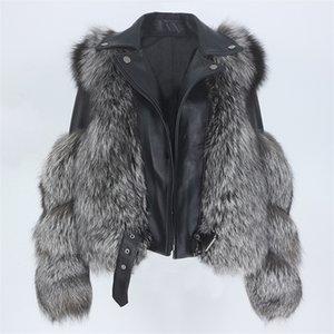 Real Fur Coat Vest Winter Jacket Women 100% Natural Fox Fur Genuine Leather Outerwear Detachable Streetwear Locomotive New 201214