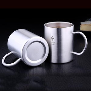 10oz 14oz Stainless Steel Tumblers Double Layer Insulation Anti-scalding Mug Handle Non-slip Tumbler Anti-fall Cup sea ship BWE2616