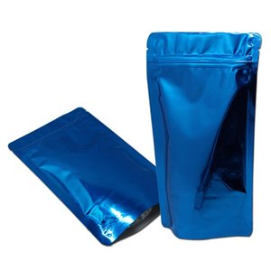 1220cm Blue Glossy Aluminum Foil Mylar Bag Stand Up Zipper Pouch Resealable Storage Bags Zip Lock Food Coffee Doypack Packaging H bbyUsK