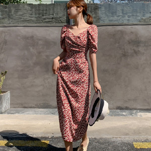 Casual Summer Female Long Dress Flower Short Sleeve Holiday Boho Beach Dress Women 2020 Square Collar Vintage Dress Vestidos Y200805