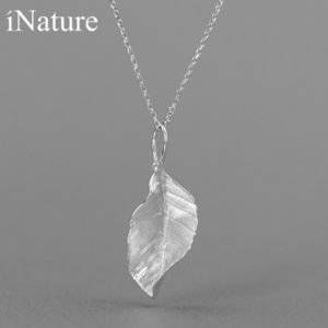 INATURE 925 Sterling Silver Necklaces & Pendants for Women Elegant Leaf Pendant Necklace Jewelry Z1126