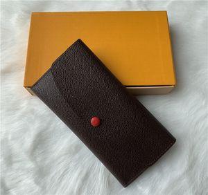 Großhandel 9 Farben mit orange Box Mode Designer Reißverschluss Pocke Brieftasche Frauen Klassische braune Leder Brieftasche Dame Lange Geldbeutel M60697