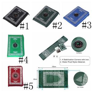 Coperte culto musulmani portatile intrecciato Compass Design preghiera Tappeti di viaggio Pocket Tappeto CompassIslamic preghiera Tappeto Mat AHC3765