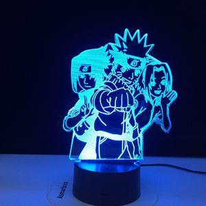 Anime Naruto Uzumaki Led Night Light Team Sasuke Kakashi Hatake Kids Bedroom Nightlight Itachi Uchiha 3d Lamp Child Xmas Gift