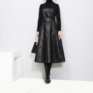 women's fashion slim leather skirt PU halter A-line skirt dress 2020 Autumn winter