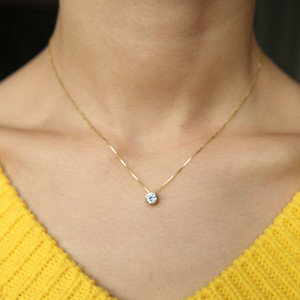 2018 latest single stone necklace fine delicate box chain 925 sterling silver bezel 5mm Sparking cubic zirconia simple jewelrygood.