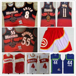 Mens Atlanta 4 Webb 55 Dikembe Mutombo Mitchell & Ness 1986-87 Swingman Hawks Basketball Jersey IconEdition