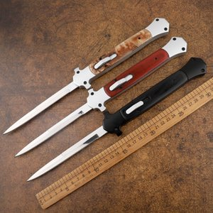 New 13 inch Italian Mafia 440C single-edged aluminum alloy head + wooden handle hunting self-defense tactical automatic knife