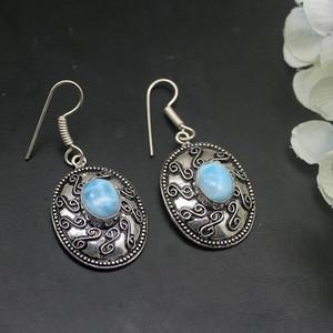 Hermosa Elegant Unique Natural Blue Larimar Dangle Drop Earrings For Women 1 7 8 Inch A899